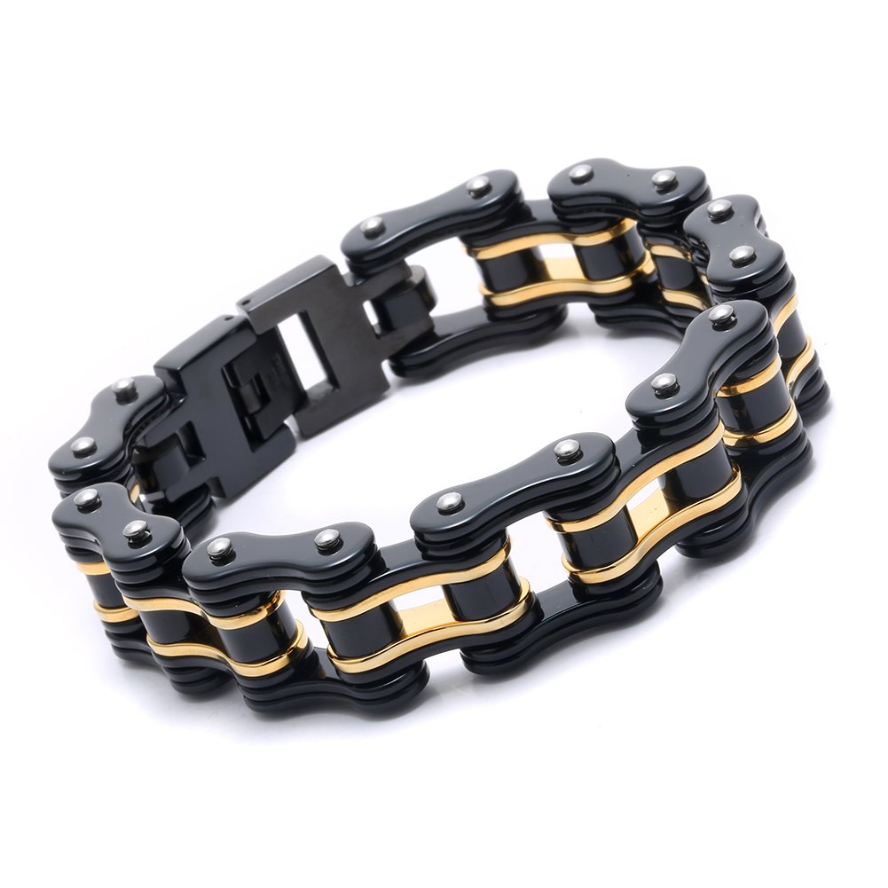 FATEMOONS Mens Bicycle Bracelet Biker Link Chain Stainless Steel Wristband Motorcycle Bangle 8.5 inch (Black-Gold)