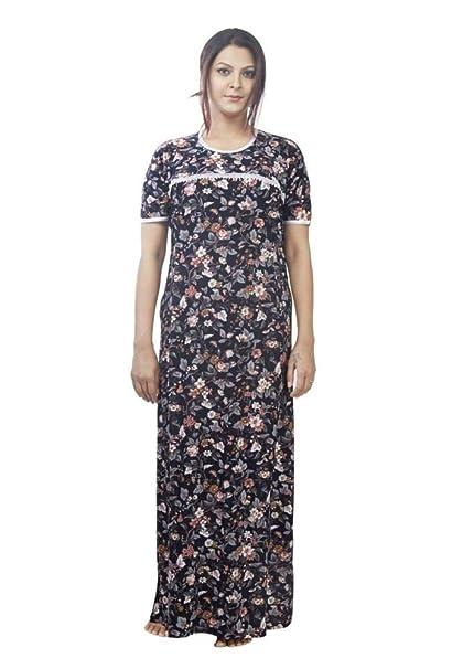 fb1b997d23a IMJI Nightwear Black Floral Printed Long Maternity Nighty for Women ...