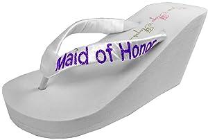 Wedding Flip Flops Maid of Honor Bridesmaid Bridal Flip Flops Bride Bling Glitter Wedge Wedding Platform Sandals Satin Flip Flops Shoes