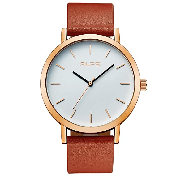 eb82877aa Image Unavailable. Image not available for. Color: Watch Womens Unisex  Simple Casual Leather Waterproof Analog Quartz Dress Wrist Watch