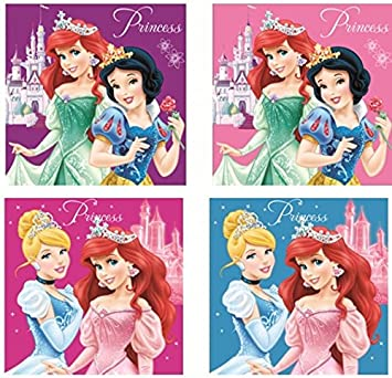 Disney Princess Prinzessinnen - HP01 4er Pack Seifentuch Seifenlappen Handtuch 30 x 30 cm Waschlappen