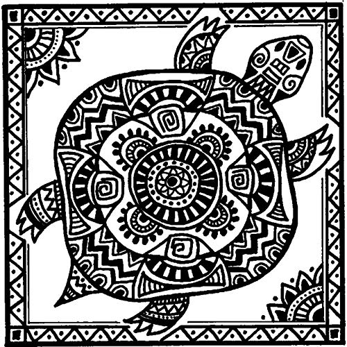 RS00024888 Azeeda A8 Tribal Turtle Unmounted Rubber Stamp