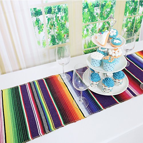 Koyal Pack of 6 14 x 84 inch Mexican Serape Table Runner for Mexican Party Wedding Decorations Fringe Cotton Table Runner by Koyal (Image #2)