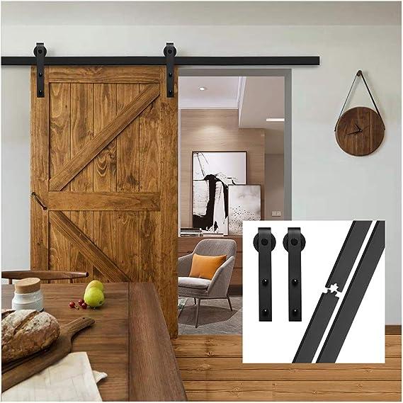 gifsin 6.6FT/200 cm Herraje para Puerta Corredera Kit de Accesorios para Puertas Correderas,Negro J-Forma: Amazon.es: Bricolaje y herramientas