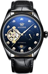 AILANG Mens Crystals Mechanical Tourbillon Moon Phase Leather Dress Watch AL-8503G