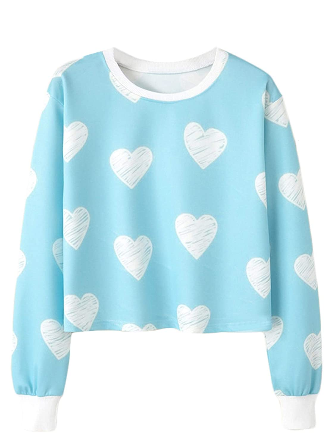 Heart Print SOLY HUX Women's Casual Printing Long Sleeve Round Neck Crop Top Sweatshirt