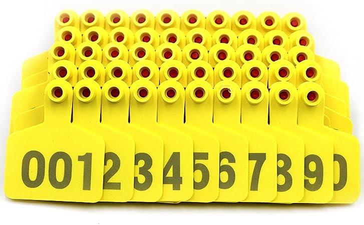 dise/ño de Oveja con n/úmero 001-100 M.Z.A Etiquetas de pl/ástico para Orejas de Ganado