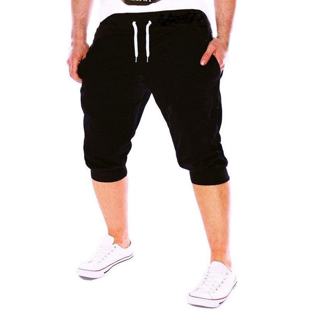 Jiayit Mens Sportswear Gym Workout Jogging Shorts Pants Elastic Fitness Pants Trousers Black