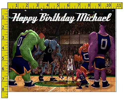 Space Jam Personalized Birthday Edible Frosting Image 1/4 sheet Cake (Michael Jordan Party Supplies)