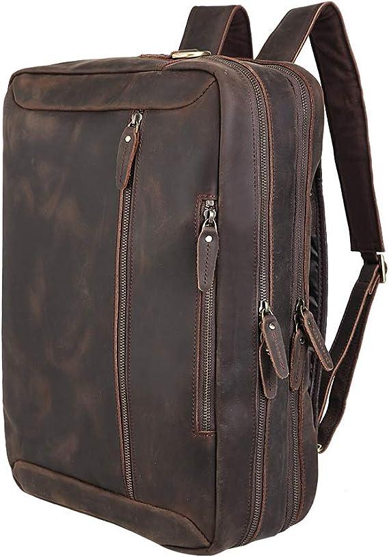 K T Design Studio Vintage Backpack 2-in-1 Laptop Shoulder Messenger Macbook Genuine Leather Rucksack Backpack Travel Bag Suits For Mens Or Womens