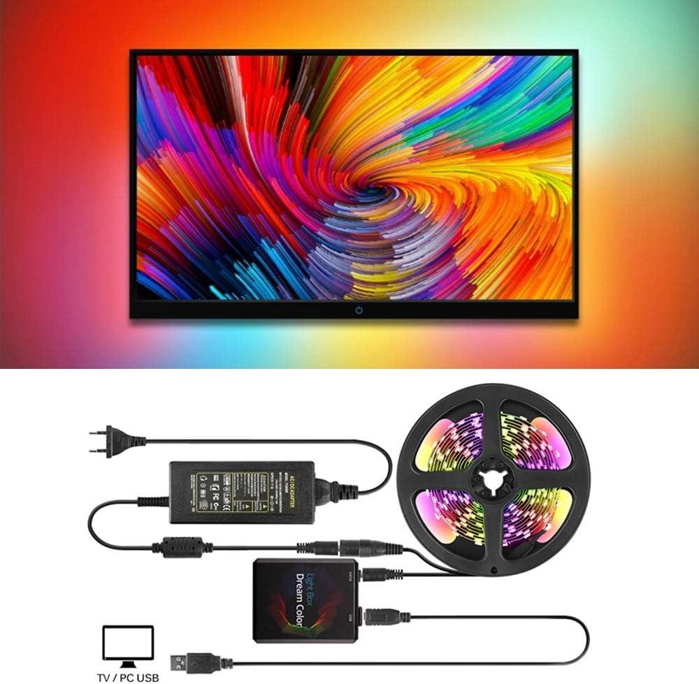 Luz de tira llevada USB de Ambilight, Kit de retroiluminación de TV/PC con caja de luz de color de Dream Se adapta a todas las pantallas planas LCD, Ambibox/Prismatik App (4M with