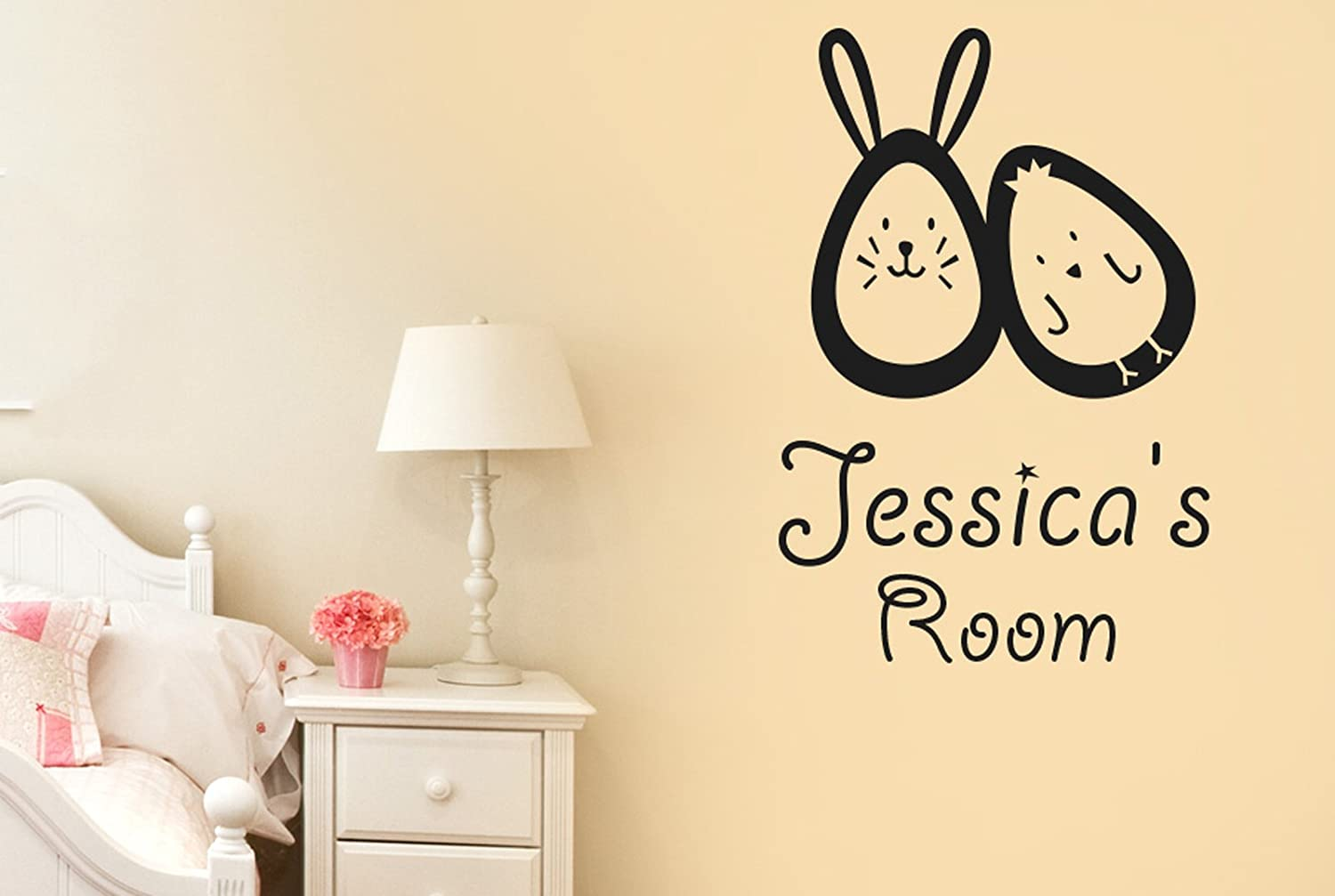 Amazon.com: Personalised Bunny Rabbit Egg And Chick Kids Room Sign ...