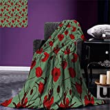 smallbeefly Poppy Throw Blanket Floral Arrangement with Abstract Ballerina Dance Themed Botanical Print Warm Microfiber All Season Blanket for Bed or Couch Green Chesnut Brown Red