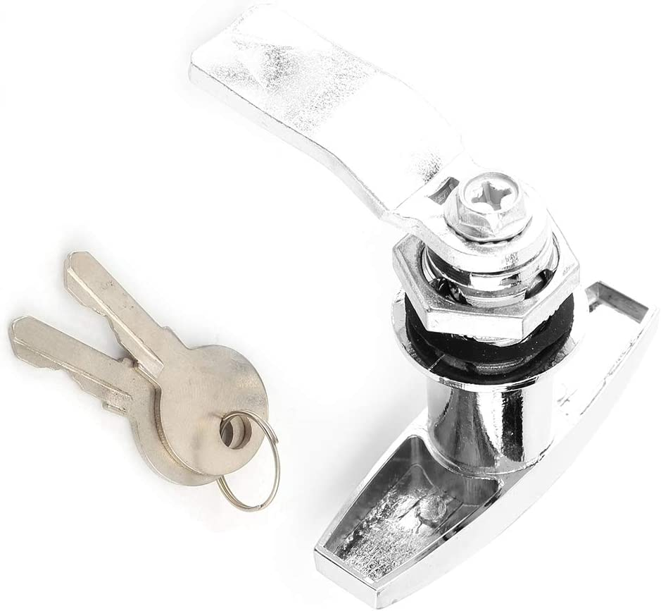 T Griff Verriegelung Heckbefestigung T Form Verriegelung Lkw T Schloss Werkzeugkasten Garagentorverriegelung Mit Schlüsseln Für Wohnwagenüberdachung Silber Auto