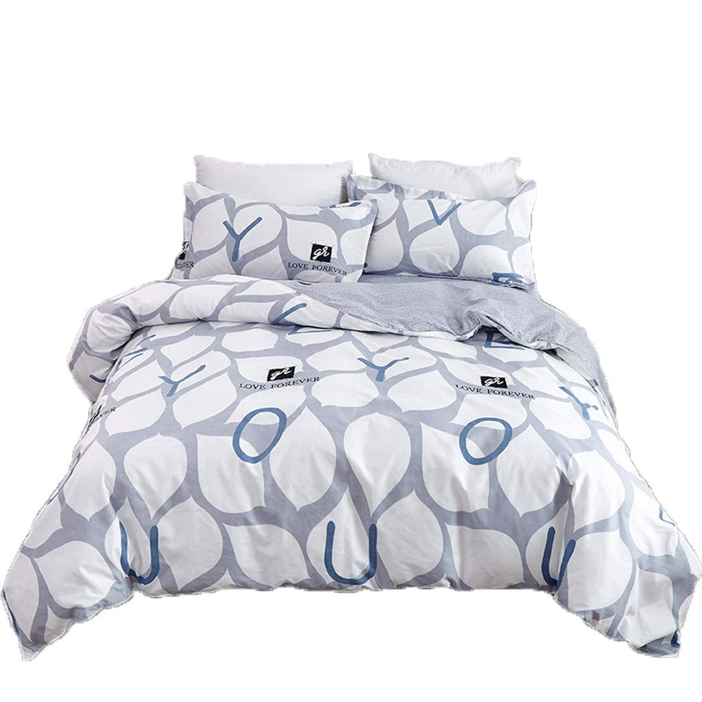 AMOUSTORE Leaf Shape Simple Letter Printed 3 Piece Bedding Comforter Throw Bed Set Reversible 100% Polyester,Premium Microfiber,Ultra Soft with 2 Pillow case Small Size by AMOUSTORE