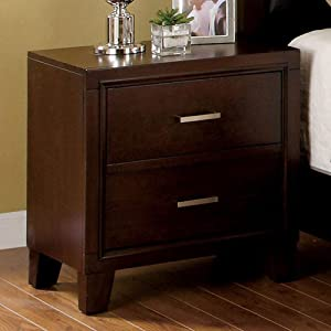 "Furniture of America CM7068N Enrico I Brown Cherry Nightstands, 24"" H"