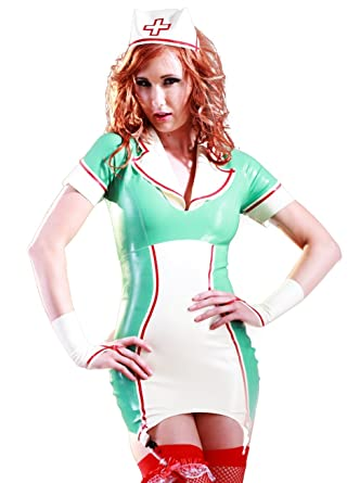 Amazon Com Skin Two Clothing Latex Rubber Natasha Nurse Dress Cap Clothing