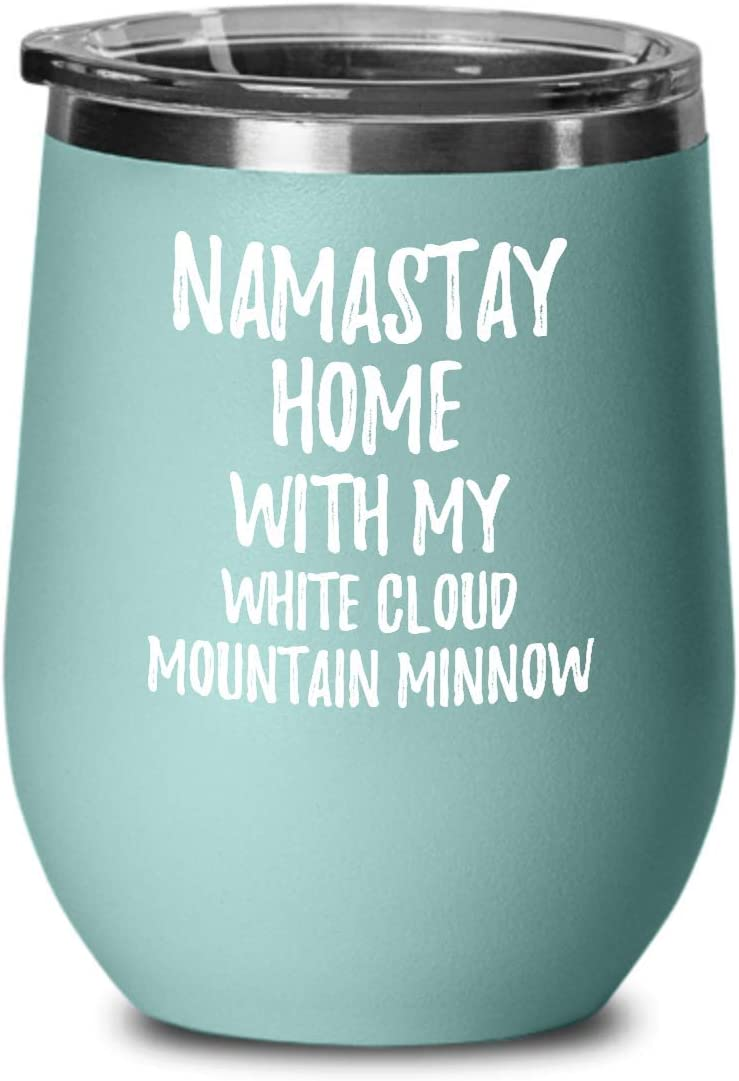 White Cloud Mountain Minnow Wine Glass Namastay Home With My Today Funny Gift Idea Pet Lover Zen Insulated Tumbler With Lid 12 Oz Teal