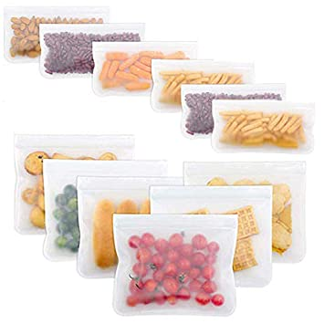 12 Piezas Bolsas Almacenamiento de Alimentos Reutilizables ...