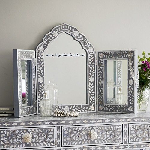 Isabelle Mother of Pearl Triple Mirror in Grey by Luxury Handicrafts