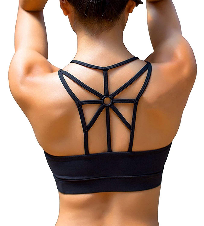 SHAPERX Women's Padded Sports Bra Push Up Criss Cross Back Wirefree Workout Gym Sports Yoga Bras Black Removable Cups, SZ139-Black-S