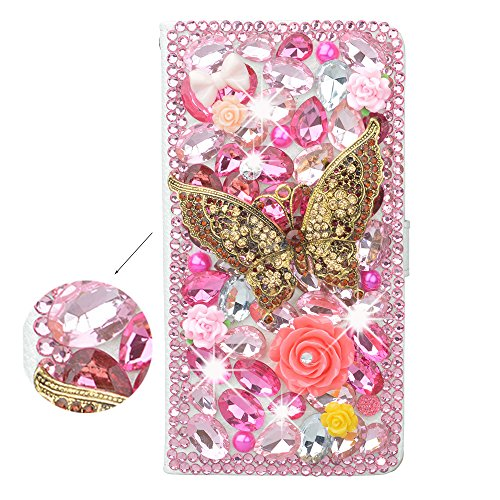 Spritech(TM 3D Handmade Bling Pink Diamond Design Case Luxury PU Leather Wallet Case Flip Cover with Card Slots and Stand Feature for?Samsung Galaxy Note ()