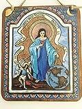 Handmade Angel St Michael Virgin Mary Retablo Icon Spanish Colonial Art blue 5 x 6 inch devotional painting print