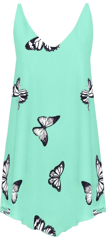 WearAll Women's Chiffon Butterfly Print Lined Sleeveless Dip Hem Vest Top 14-28 84629