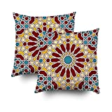 Shorping Zippered Pillow Covers Pillowcases 20X20Inch 2 Pack islamic geometric pattern Decorative Throw Pillow Cover Pillow Cases Cushion Cover for Home Sofa Bedding