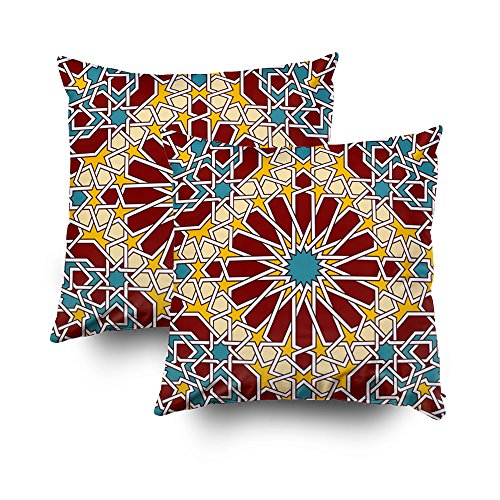 Shorping Zippered Pillow Covers Pillowcases 20X20Inch 2 Pack islamic geometric pattern Decorative Throw Pillow Cover Pillow Cases Cushion Cover for Home Sofa Bedding by Shorping