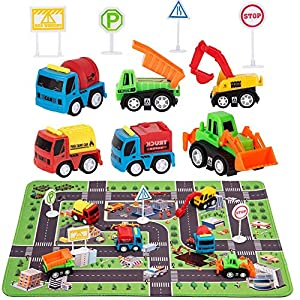 """Best Epic Trends 61gY%2BJ-CkCL._SS300_ Construction Toys with Play Mat, Engineering Vehicles Set Include 6 Construction Trucks, 4 Road Signs, 14"""" x 18"""" Playmat, Mini Pull Back Car Toys,Perfect Construction Birthday Party Supplies"""
