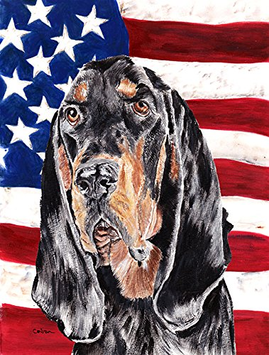 Caroline's Treasures SC9511CHF Coonhound Black and Tan USA American Flag Canvas, Large, Multicolor from Caroline's Treasures