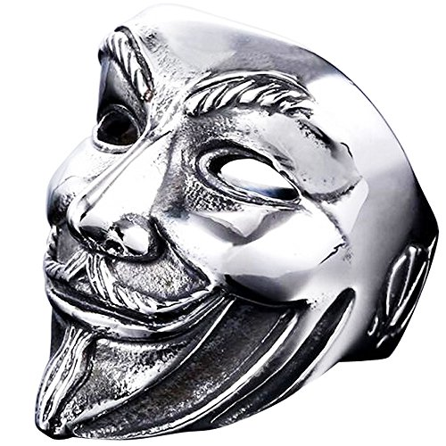 MENSO Jewelry Titanium Steel Men's Vintage V for Vendetta V Mask Skull Ring,Silver Black 8 (Stainless Steel V Ring compare prices)