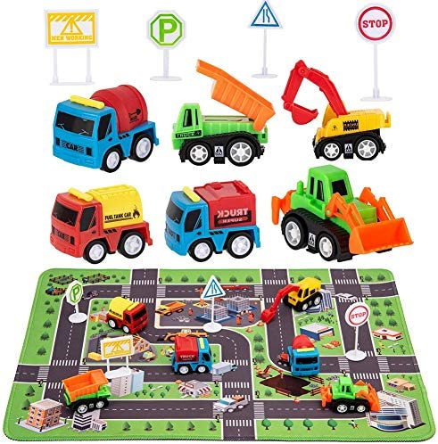 Construction Toys with Play Mat, Engineering Vehicles Set Include 6 Construction Trucks, 4 Road Signs, 14″ x 18″ Playmat, Mini Pull Back Car Toys,Perfect Construction Birthday Party Supplies