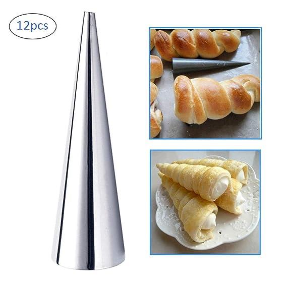 Kylewo Juego de 12 moldes para Hornear, moldes para hornos de Rollo de Acero Inoxidable para Hornear Moldes cónicos de Cono Croissant de pastelería ...