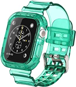 ZZLOVE Watchband Crystal Clear Soft silicone sports Compatible for Apple Watch TPU 42mm/44mm Bracelet Band Strap for iWatch Series SE/6/5/4/3/2