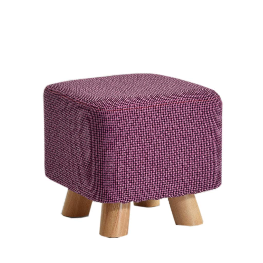 PURPLE Solid Wood Stool Fashion Small Square Stool Creative Sofa Stool Fabric Stool Home Coffee Table Stool shoes Bench (color   bluee)
