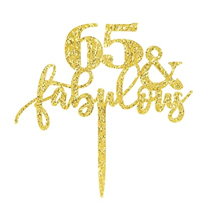 Amazon 65 Fabulous Cake Topper Glitter Gold 65th Birthday