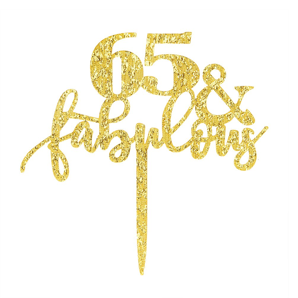 65 Fabulous Cake Topper, Glitter Gold 65th Birthday Party ...