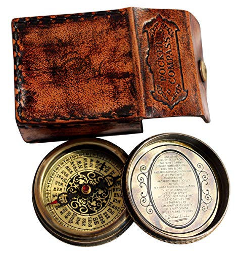 MAH Vintage Style Maritime Unique Design Magnetic Navigation Nautical Instrument with Leather Case C-3043