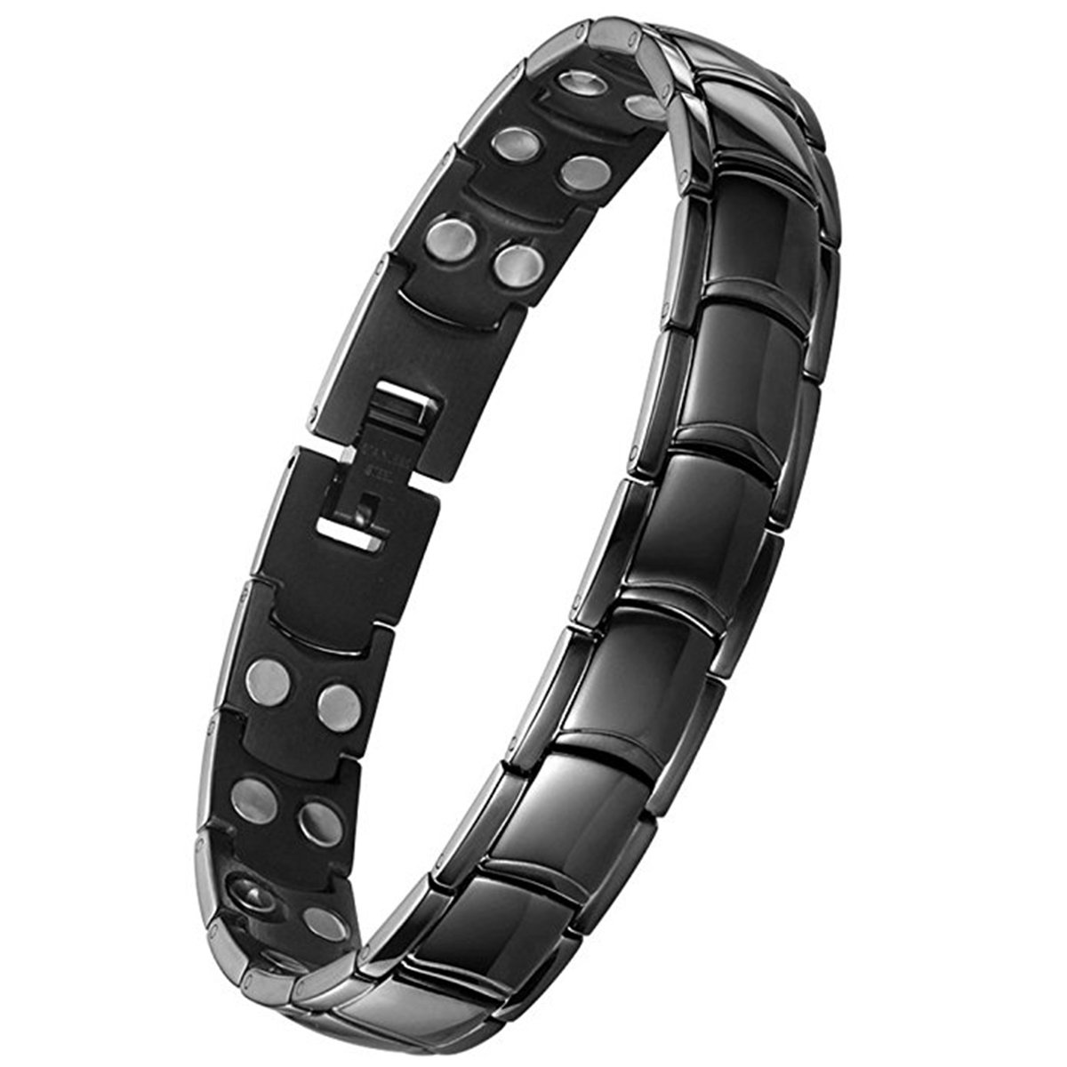 Feraco Titanium Magnetic Therapy Bracelet Men Double Hematite Magnet Wristband Pain Relief for Arthritis,Black
