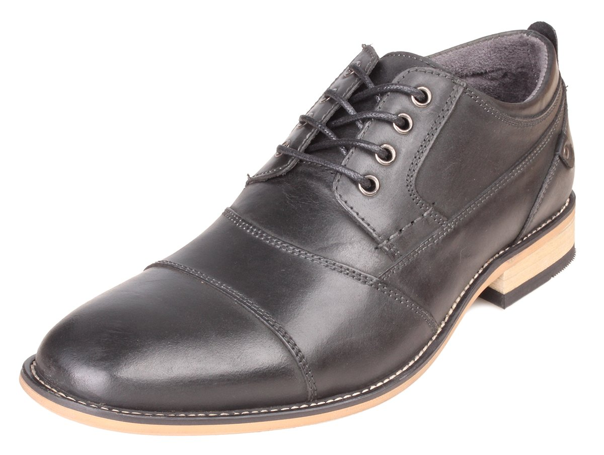 Kunsto Men's Leather Cap Toe Oxford Shoes US Size 9 Dark Grey