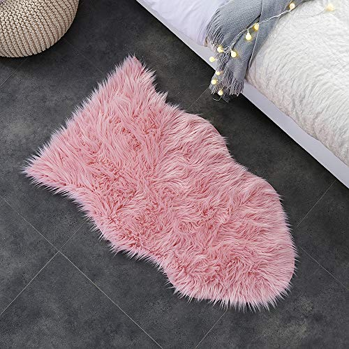 - Ojia Faux Sheepskin Fur Rug Soft Fluffy Carpets Chair Couch Cover Seat Area Rugs for Bedroom Sofa Floor Living Room( 2 x 3ft,Pink)
