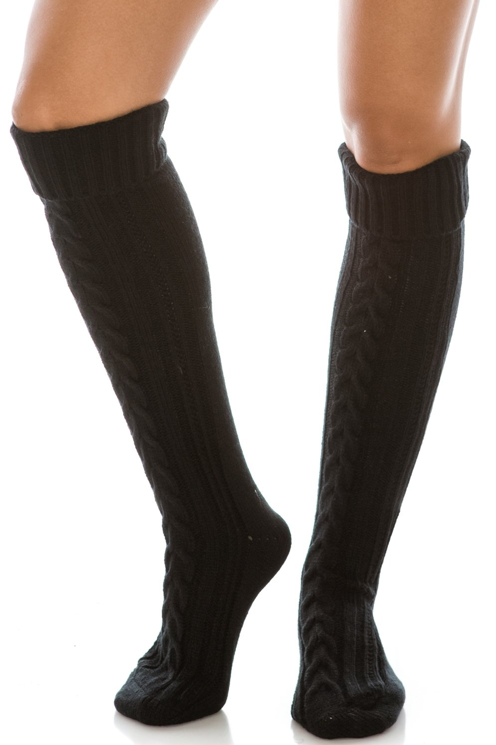 HatQuarters Braided Knit Long Boot Socks, Warm Knee High Solid Color Cuffed Leg Warmers (Black)