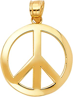 14K Yellow Gold Jewelry Pendants /& Charms Solid CZ Childrens Peace Sign Pendant