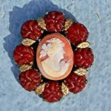 Antique Hand Carved Shell Carnelian Cameo Pendant Ceres, Demeter,The Goddess of the Harvest, in Red Glass Flowers Pendant Only