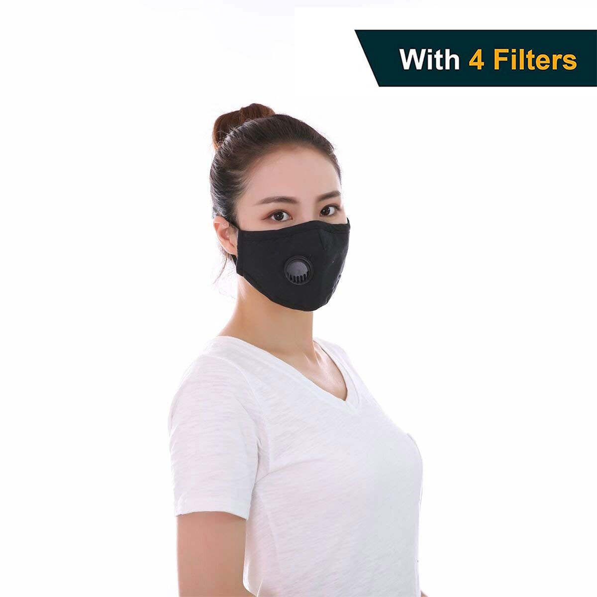 Anti Pollution Mask, FBve Washable Cotton Respirator Mask with Adjustable Straps, Anti-dust Mouth Masks with 4-Pack Replaceable Filters for Men and Women (Black)