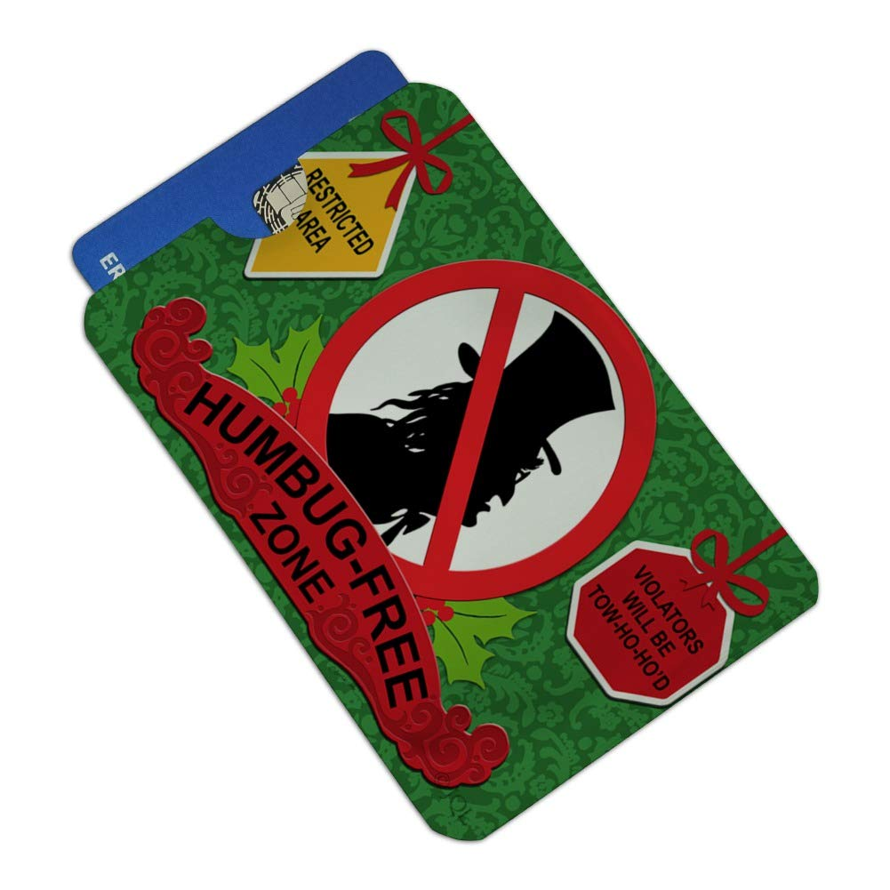 Christmas Holiday Humbug Free Zone Credit Card RFID Blocker Holder Protector Wallet Purse Sleeves Set of 4