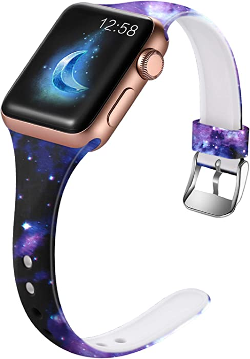 Henva Band Compatible with Apple Watch SE Band 40mm 38mm for Women, Soft Silicone Thin Wristband with Print Pattern for iWatch Series 6/5, Series 4, Series 3, Series 2, Series 1, Starry Sky Pattern, S/M