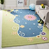 Safavieh Safavieh Kids Collection SFK383A Handmade Blue and Green Cotton Square Area Rug (7' Square)